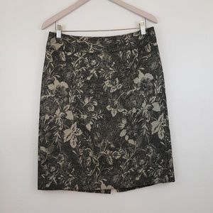 Ann Taylor Floral Lined Classic Pencil Skirt 10